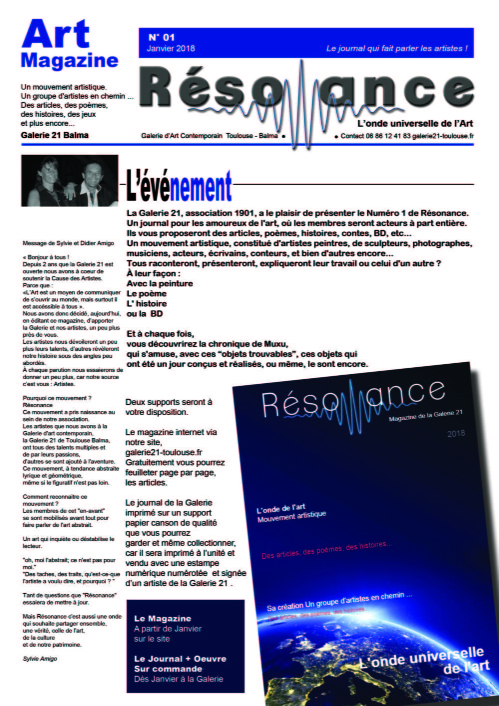 Journal N 1 Galerie 21 - Résonance - Magazine
