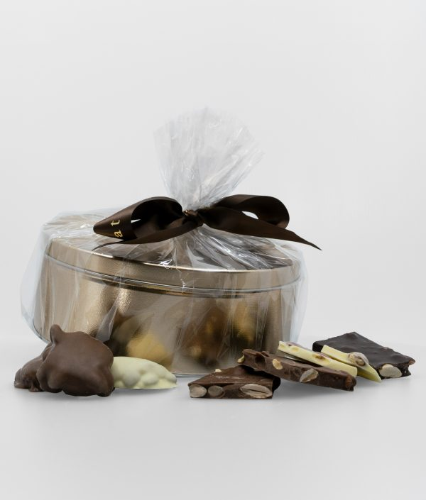 coffret cadeau melange d ecorces de chocolat aux amandes et reves d amandes caramelises 1kg
