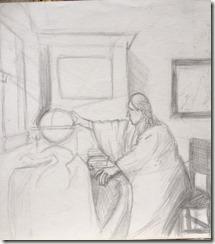 etude préparatoire pour l'astronome de Vermeer