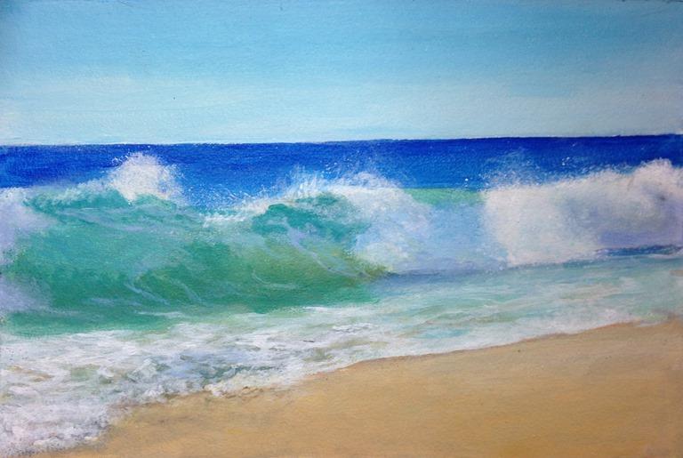 Comment peindre des vagues for Peindre sur de la peinture