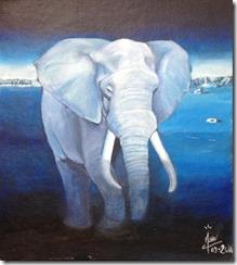 étude pour éléphant en bleu