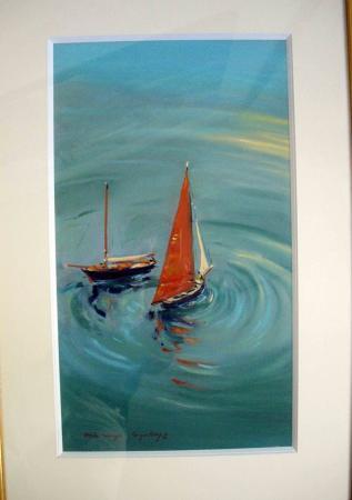 Jacques COQUILLAY - Deux voiles rouges à Douarnenez 60x40