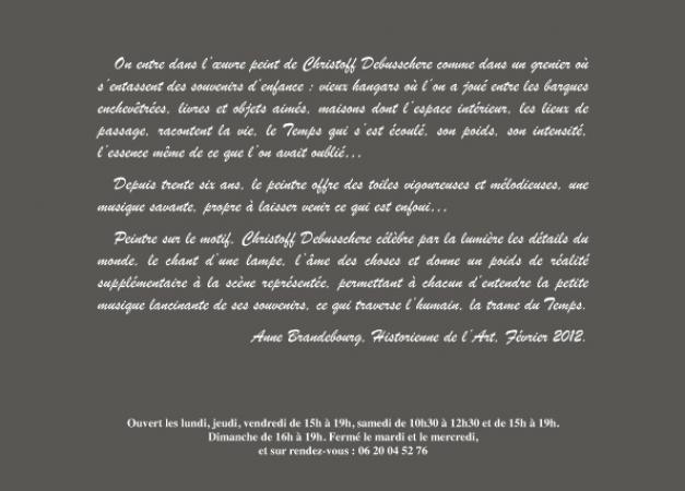 Christoff DEBUSSCHERE - texte d'Anne Brandebourg 2012