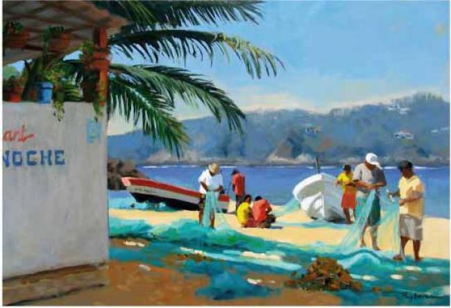 PUYBAREAU - 2012 Les pêcheurs de Puerto Angel 55x38