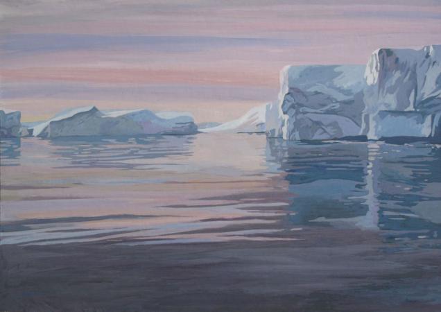 Jacques GODIN - 2020 Le sanctuaire de glace, gouache sur papier, 34 x 49 cm