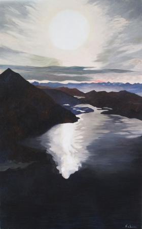 Jacques GODIN - 2020 Northern lights, huile sur toile, 130 x 81 cm