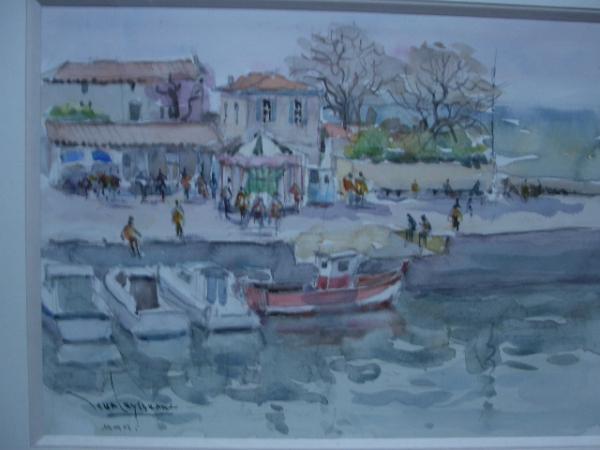 Jean  LEYSSENNE - .le petit port de La Flotte vue sur le manège