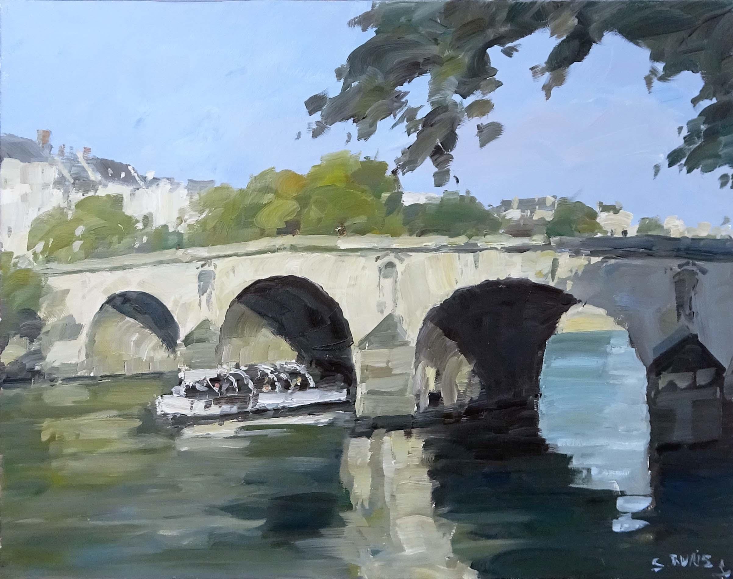 Stéphane RUAIS - n°1 Le Pont Marie 9F 50x40cm - Huile sur toile