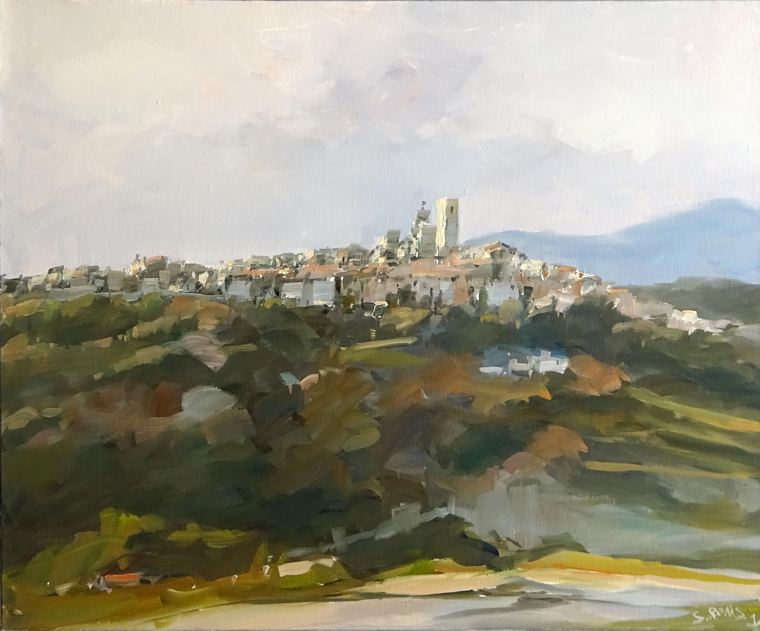 Stéphane RUAIS - n°32 Vue sur St Paul de Vence 20F 73X60cm - Huile sur toile