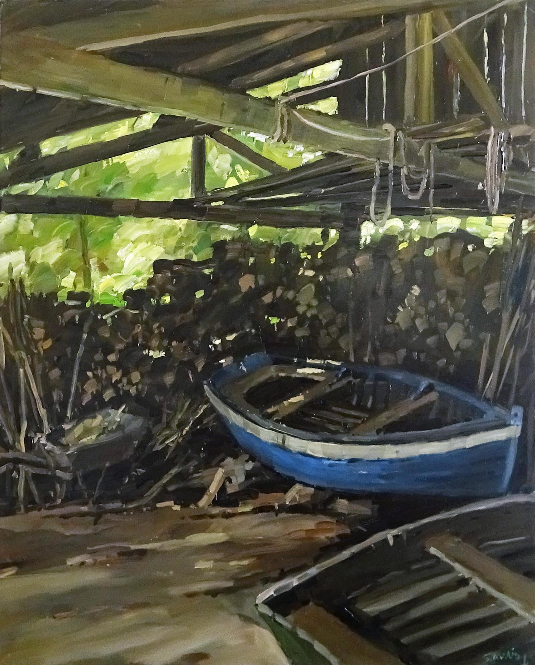 Stéphane RUAIS - n°44 La barque sous le hangar à bois 25F 81X65cm - Huile sur toile