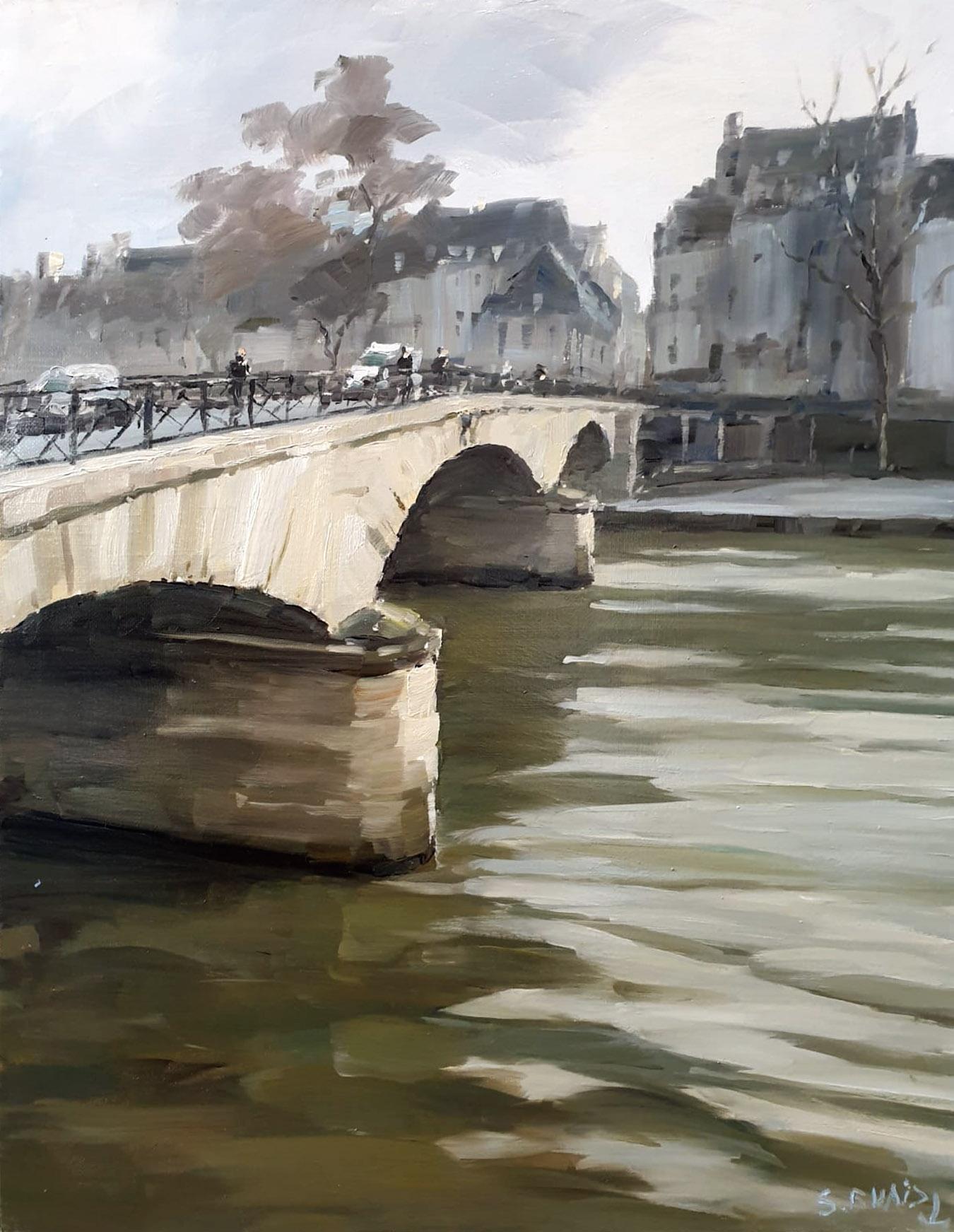 Stéphane RUAIS - n°52 Pont Marie I 9F 50X40cm - Huile sur toile