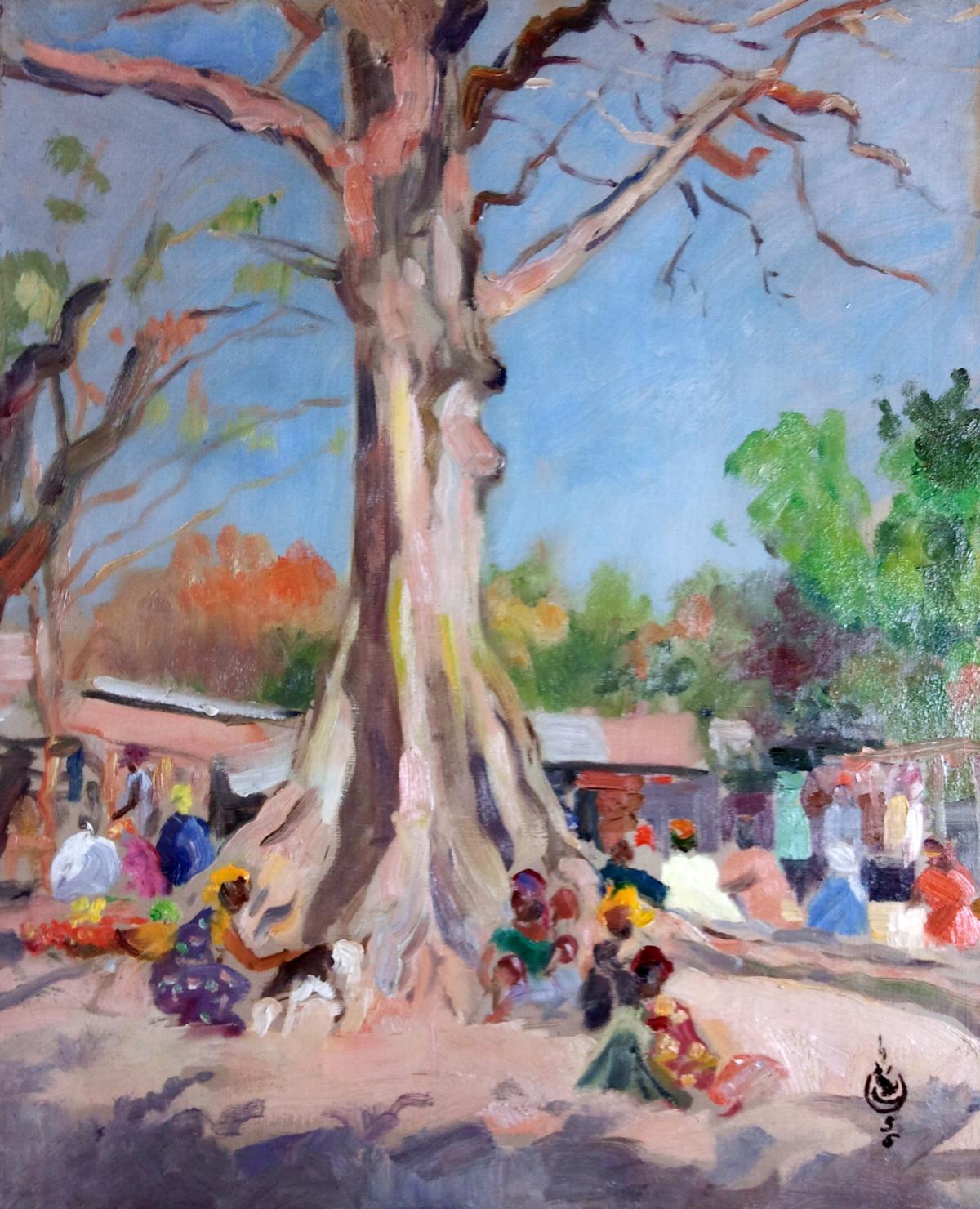 Lechat Charles scène de marché à Irak Dakar Sénégal 1955