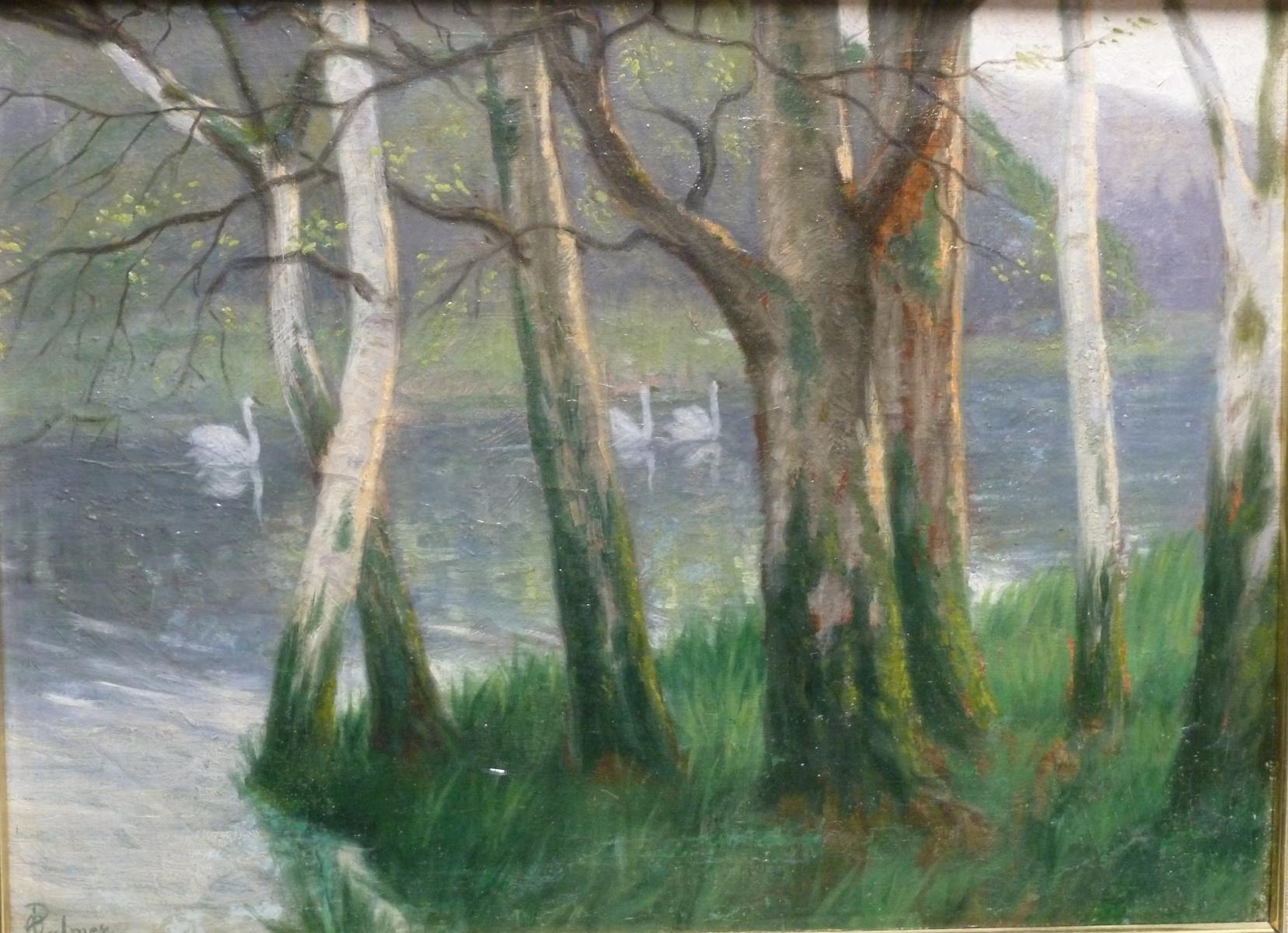 Palmer Otto - Paysage de rivière avec cygnes