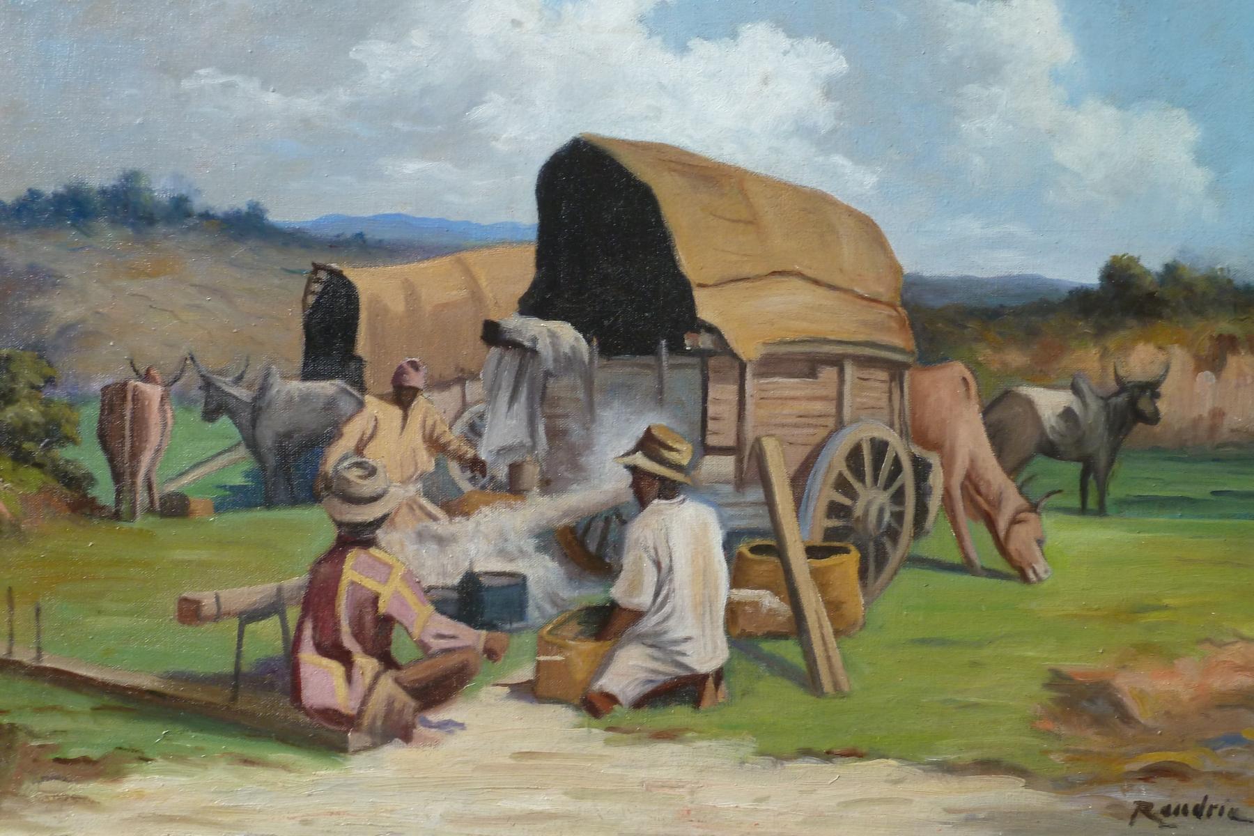 Scène de tri du coton à Madagascar