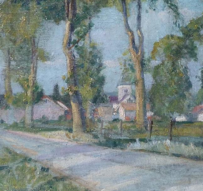 Anonyme-entree-de-village-ensoleille-huile-sur-toile-focus