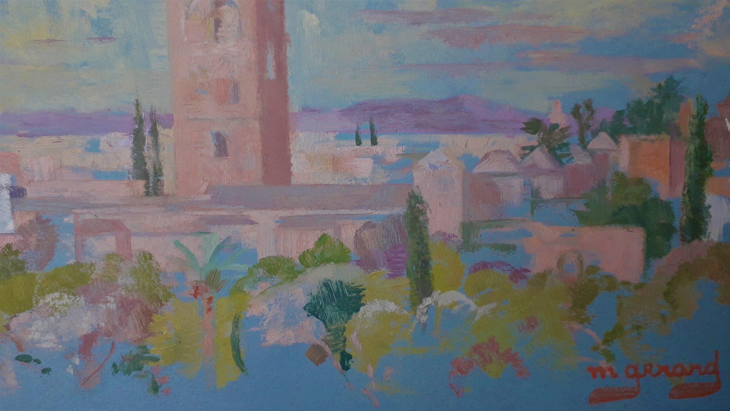 Gerard-Maud-vue-Koutoubia-Marrakech-hotel-Mamounia-1969-detail