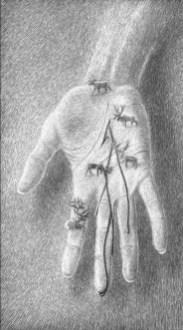 Les présents des gobelins,carte à gratter, 30 x 17,5 cm
