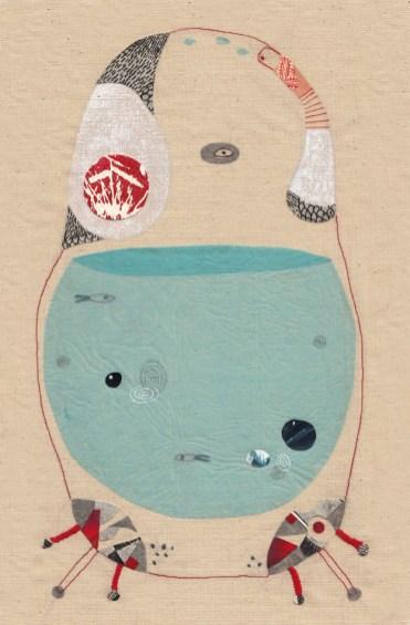Bestiaire. Elephant Frog. Broderie, collage et acrylique. 22X33,5cm