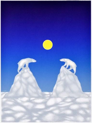 La divergence des icebergs. Sérigraphie et crayons de couleur. 37,5X50cm
