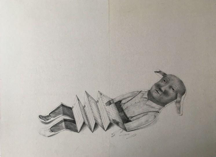 Homme-accordéon . Graphite. 34X46cm