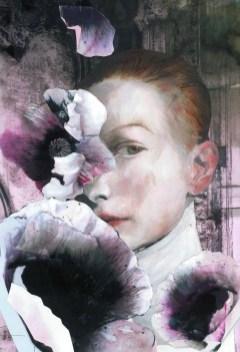 Gertrude Peinture à l'huile et collage. 30X46 cm. 900 euros