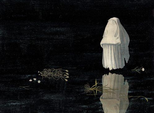 Le chant du marais. Le Fantôme. Acrylique, encre de chine et crayon sur papier. 56x76cm 1400 euros