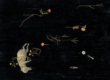 Le chant du marais . Le Porc. Acrylique, encre de chine et crayon sur papier. 56x76cm. 1300 euros