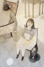 Amours volatiles. crayon et gesso sur papier. 100x146cm.