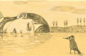 Fille et oiseau 24X18 cm Crayon graphite