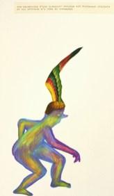 Le triomphe. Collage et crayons decouleurs.-30X40-cm