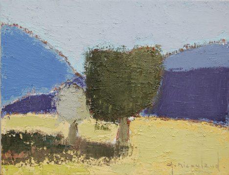 Nicoulaud, Paysage avec arbre, 27x35 cm, huile sur toile, Disponible à la Reserve