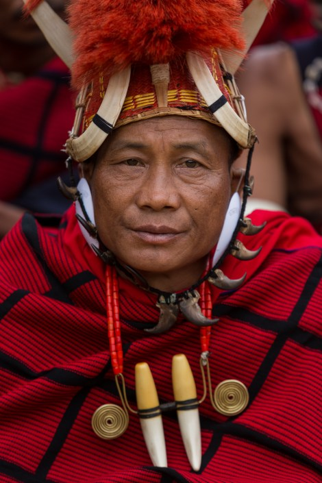Portrait of member of Apoksah village cultural troupe (Pochury) performing at Hornbill Festival 2015, Kisama Village, Kohima District, Nagaland, India. Naga heritage is celebrated during colourful festivals: Hornbill is the Nagaland state government's ten-day festival organised every December, when Naga tribes converge wearing their traditional costumes and finery for tourists.