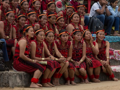 Hornbill Festival 2015, Kisama Village, Kohima District, Nagaland, India. Naga heritage is celebrated during colourful festivals: Hornbill is the Nagaland state government's ten-day festival organised every December, when Naga tribes converge wearing their traditional costumes and finery for tourists.