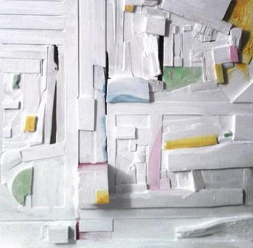 Lena Franolić - Fragmenti vremena / Fragments of Time / Fragmente der Zeit 2011 (reljef - drvo, kit za drvo, akril / relief - wood, putty, acrylic / Holzrelief, Holzkitt, Akryl)