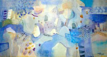 Dagmar Franolić - Miris plave / The Smell of Blue / Blau Riechen 2018 - mješana tehnika / mixed media / gemischte Technik, 36.5 x 69 cm