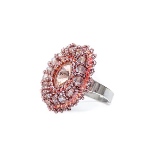 nastavljiv prstan iz perlic roza barva prelest