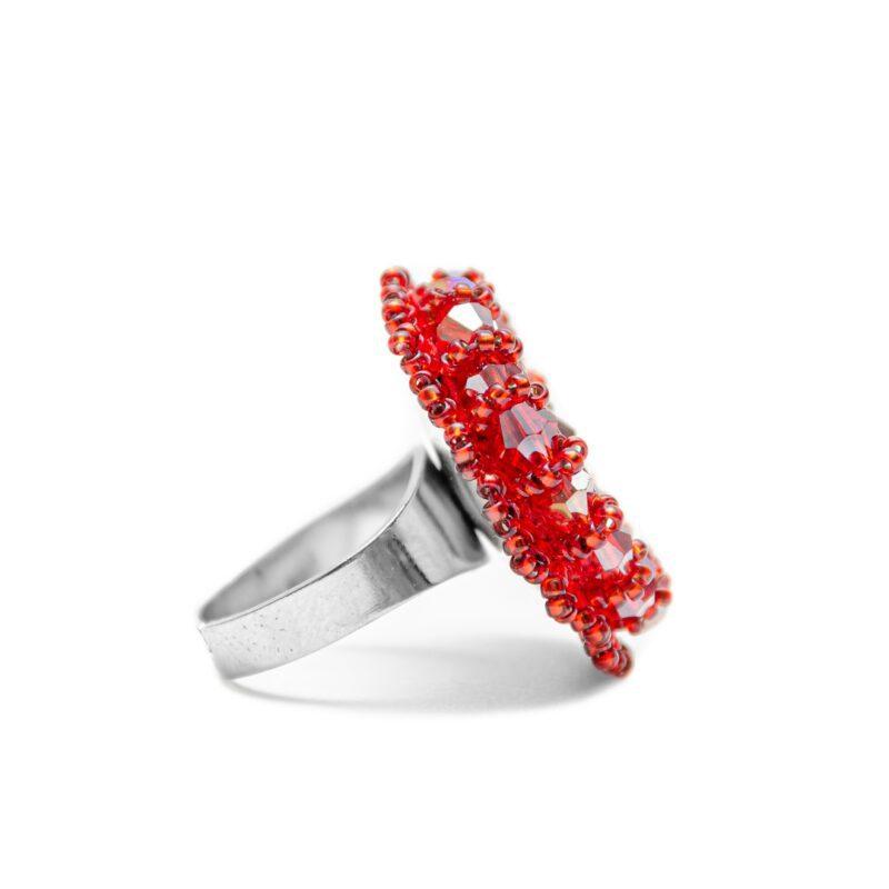 prelest rdeči prstan iz perlic