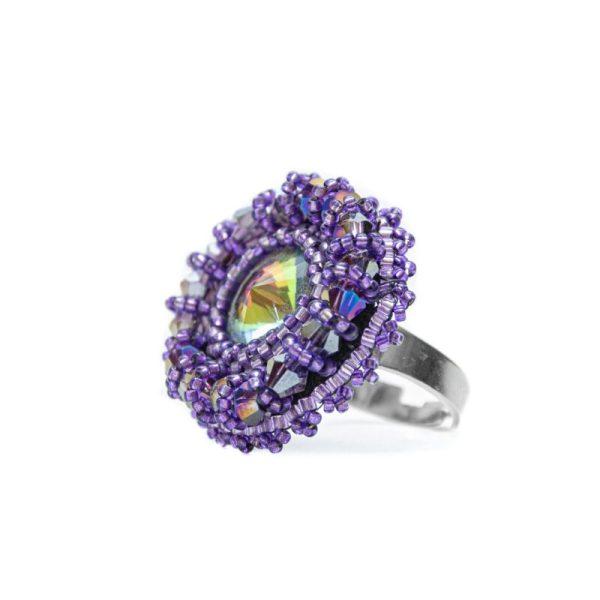 vijolični prstan iz perlic
