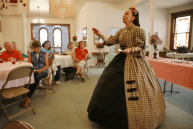"""Debra Ann Miller as Mary Todd Lincoln in a performance of """"Mrs. Lincoln's Salon"""""""