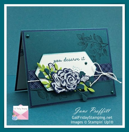 Pretty Peacock, night of navy, basic white and granny apple green card using the Brushed Blooms bundle from Stampin' Up!