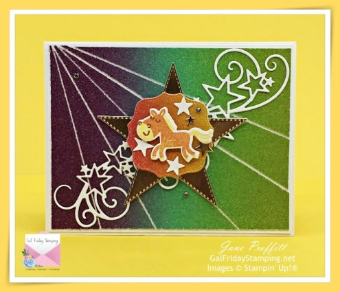 A rainbow of color and the Stitched stars dies is perfect for the front of today's card using the Hippo Happiness Bundle.