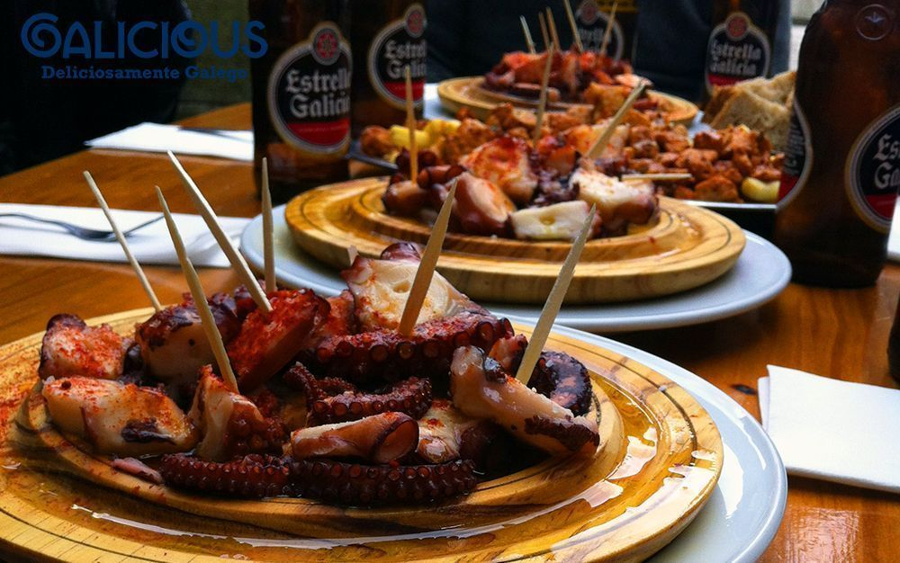 Pulpo a feira y Estrella Galicia