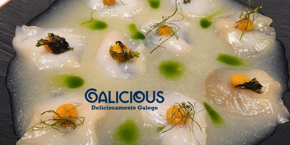 Tiradito de vieira curada en miso con leche de trigre de yuzu. Restaurante Pakta. #Galicious