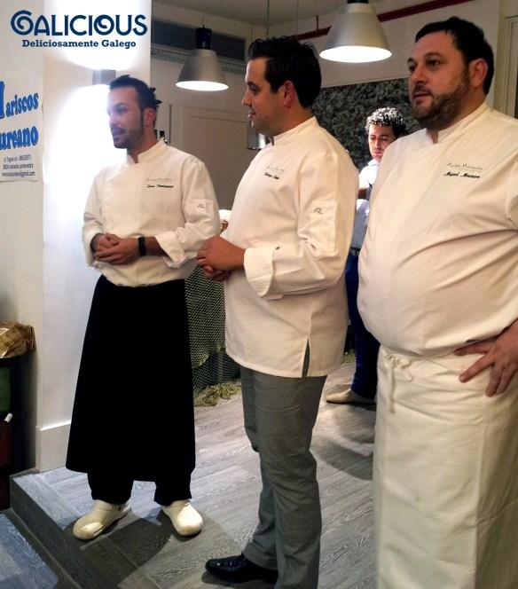 Iván Dominguez, Rodrigo Lojo y Miguel Mosteiro en el showcooking de Auga Mareira