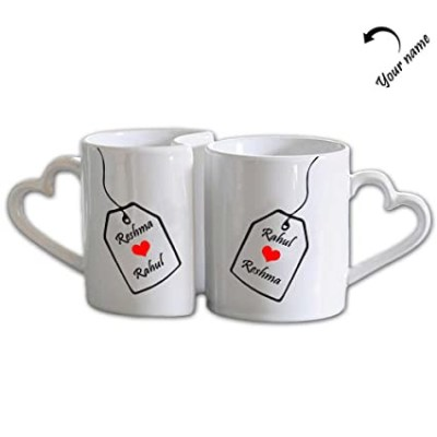 Couple Mug with 2 heart handle
