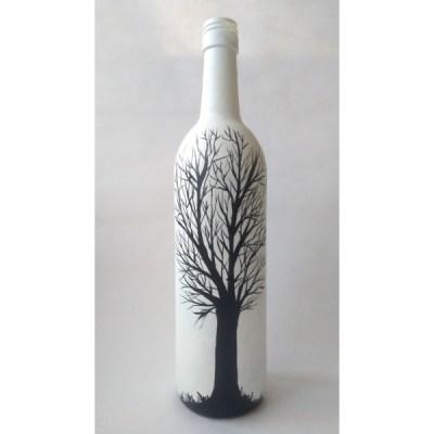 Hand Painted Black Tree Bottle
