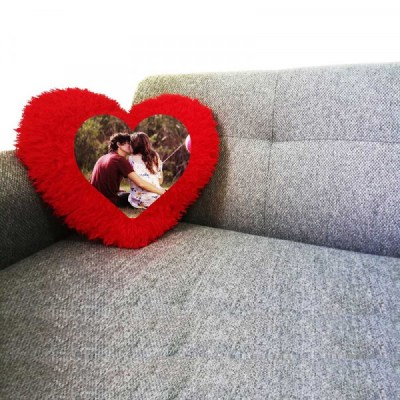 Ultra Soft Red Heart Fur Personalized cushion with your image