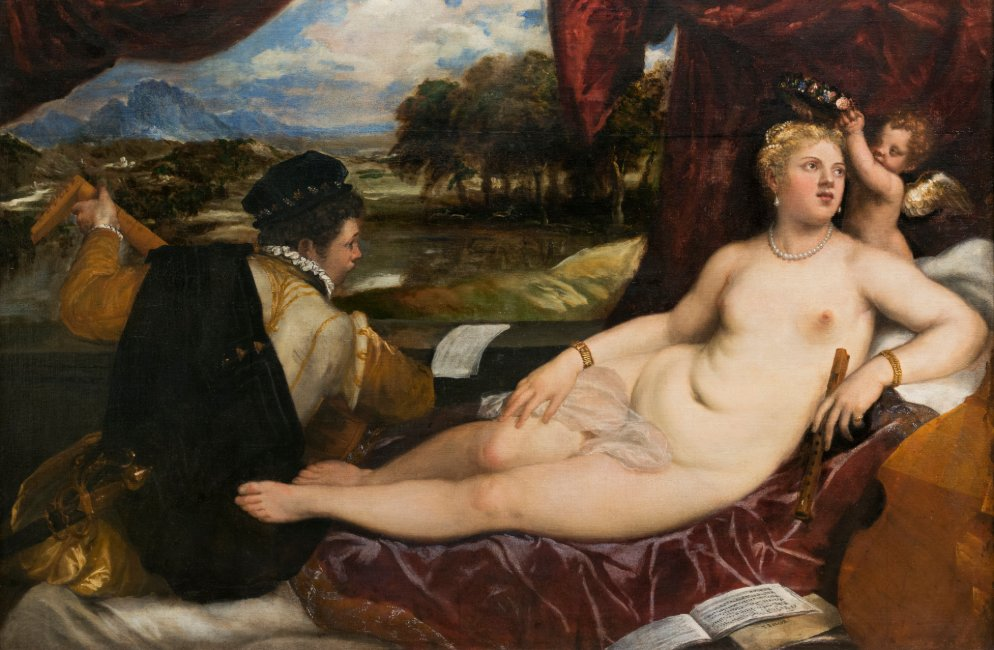 Venus and Cupid with Lute Player by Titian