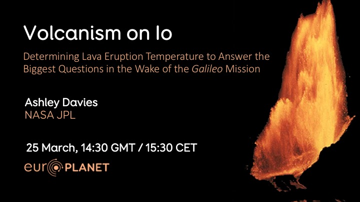 Banner for Europlanet March 2019 Webinar - Volcanism on Io