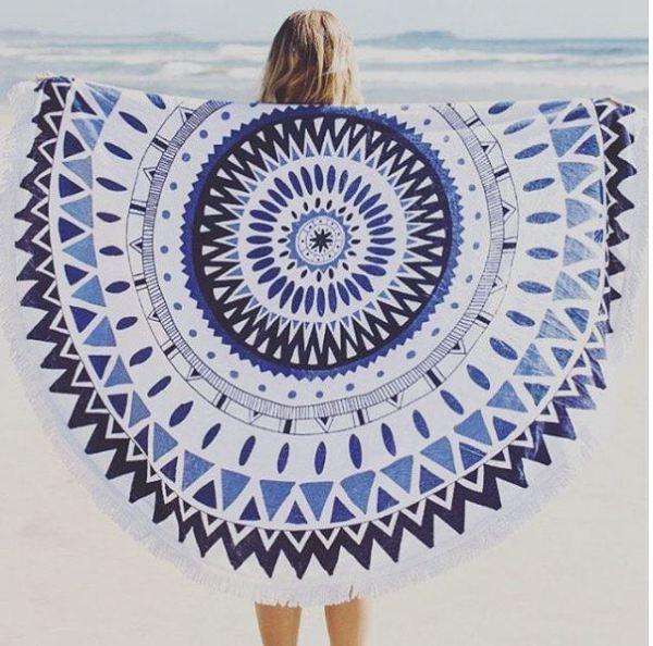 Mandala Personalized Round Beach Towel